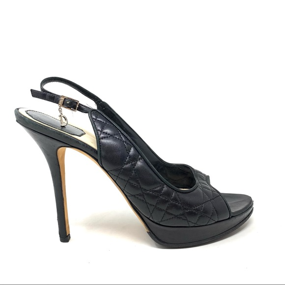 Dior quilted cannage sling back heels size 40